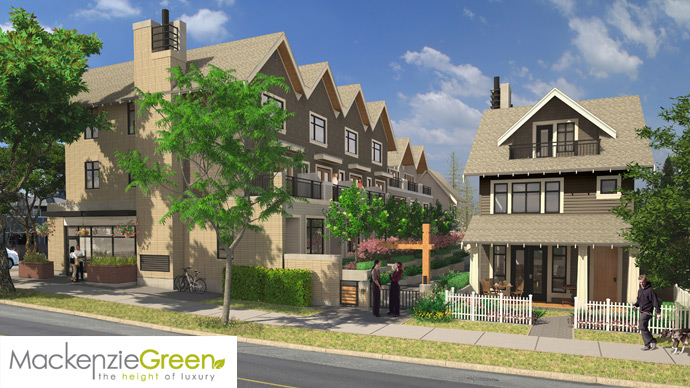 A second side rendering of the boutique enclave of West Side Vancouver Mackenzie Green townhomes and rowhome project.
