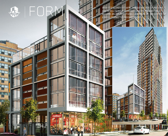 A rendering of the Maddox Vancouver Downtown condo tower.