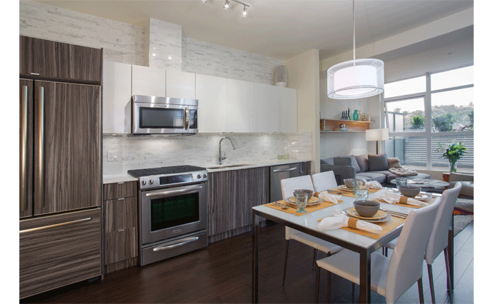 Beautiful kitchens at Marquee Vancouver condos in the Commercial Drive district.