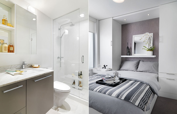 Presales Vancouver MC2 Condos by Intracorp bathroom and bedroom rendering.