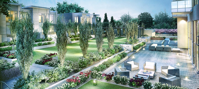 Beautiful landscaped grounds and terrace deck at The MET Burnaby Metrotown high-rise.