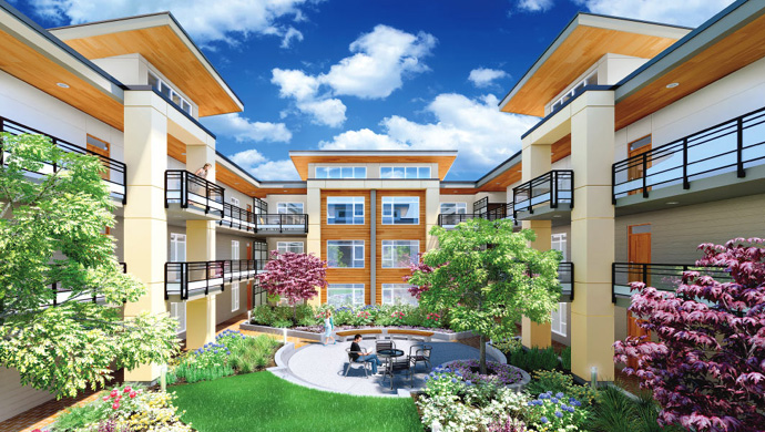 Beautifully landscaped central courtyard at the Burnaby Metro One Metrotown condos for sale