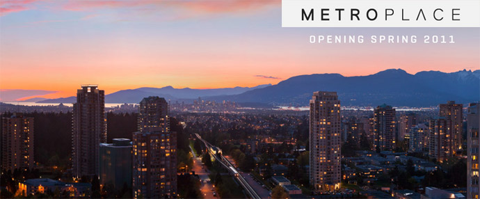 Outstanding views featured at the new Burnaby high-rise condo tower in Metrotown MetroPlace condominiums.