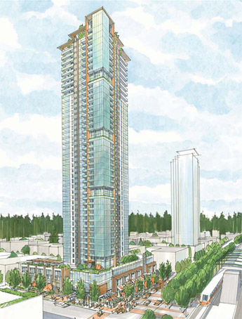 A rendering by Busby Perkins and Will for the new Burnaby MetroPlace condos by Intracorp Developers.