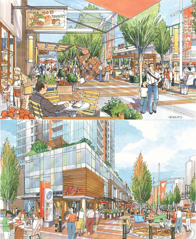 a walkable and sustainable community will be built around the townhomes and MetroPlace Burnaby condos in Metrotown.