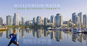 Sales Launch for Millennium Water Condominiums in South False Creek Vancouver is coming this fall.  This is the first release of pre-sales condo homes in this real estate development along Vancouver final waterfront area.