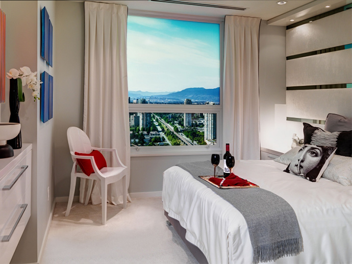 Spacious bedrooms in all layouts at the new Moda Burnaby condos in Metrotown