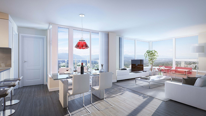 Open concept floor plans at Moda by Polygon.
