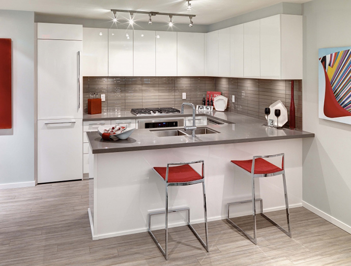 Gourmet kitchens at the preconstruction Burnaby MODA apartments in Metrotown real estate district