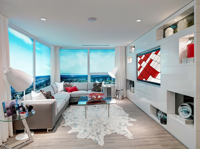 Expansive living space at the new Metrotown Burnaby MODA condo tower residences