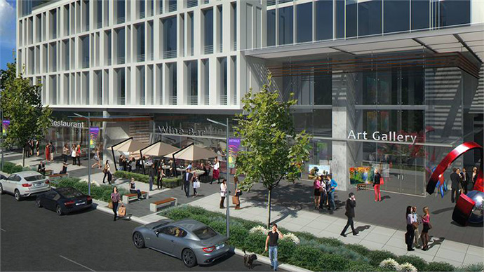 City of Burnaby proposed Metrotown Beresford Art Walk along Modello condos ground level.
