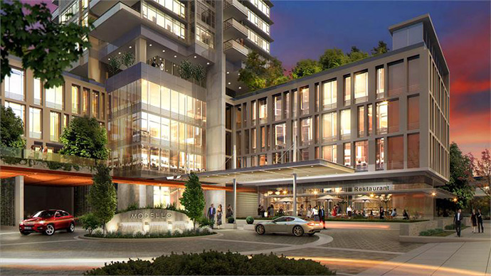 Entrance and ground floor retail at the pre-construction Burnaby MODELLO by Boffo Metrotown high-rise tower.