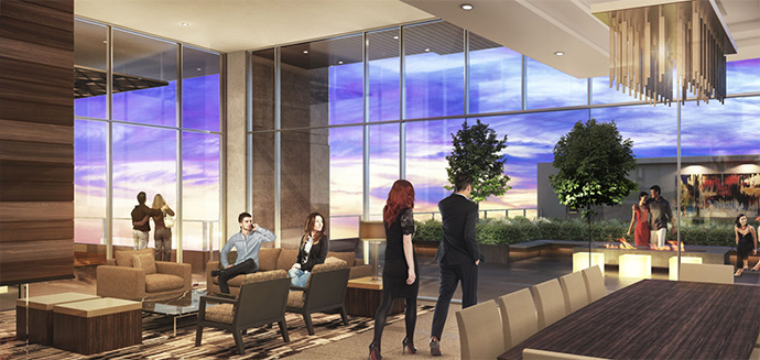 Grand entrance lobby for the new presales Burnaby Metrotown Modello condominium tower.