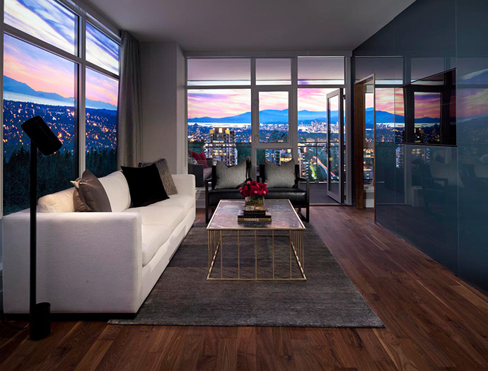Living room at the new Burnaby Modello Penthouse suites.