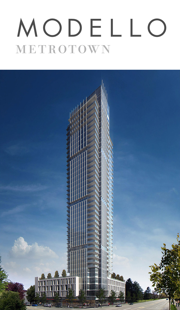 Magnificent Boffo Modello Burnaby condo tower now launching in Metrotown real estate district.