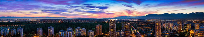 Impressive city and mountain north facing views from upper levels of the Metrotown MODELLO Burnaby landmark condo tower.