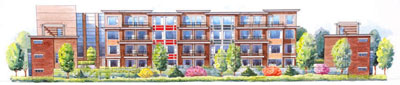 Rendering of the low-rise boutique apartments at Modena Residences in richmond which provide riverside living.