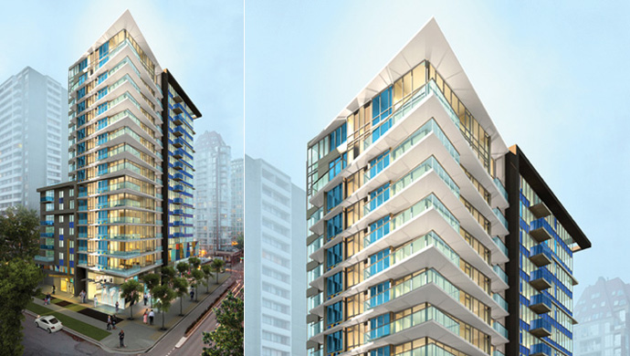 Impressive rendering of the Amacon Modern Vancouver West End condo high-rise tower, the first of its kind in decades.