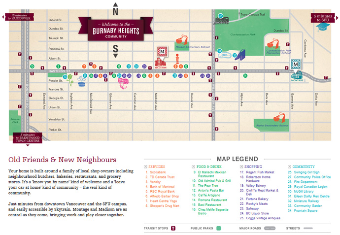 The Burnaby Heights real estate district map.