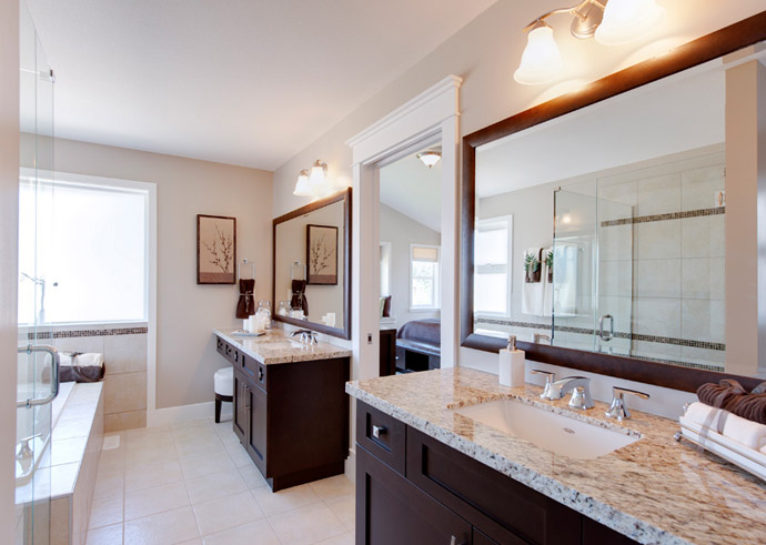 Amazing master ensuite bathrooms with double vanities and separate tub and shower.