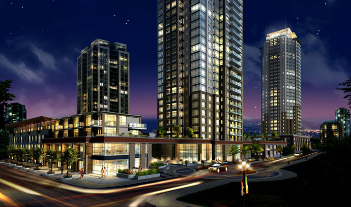 The Cressey MThree Coquitlam Condo High-Rise in the Coquitlam Metropolitan Residence master planned community.