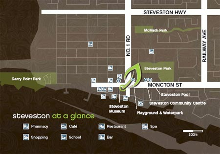 Location map of the new Steveston real estate development at Mukai Richmond luxury condos.