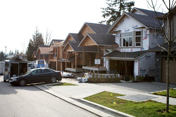 Image of the current progress of construction at the Burke Mountain Coquitlam Foothills property development.