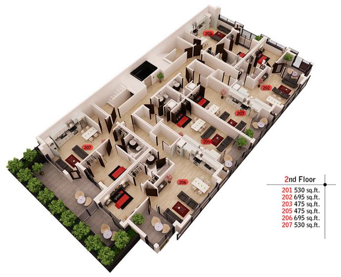 2nd floor of boutique East Van condo building.