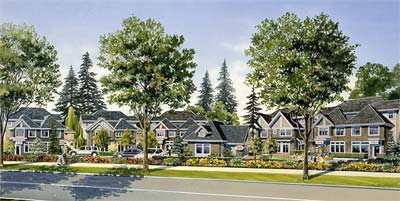 A great rendering image of the new Surrey community at Nuvo townhouses that offer affordable three bedroom family town homes to prospective buyers right now.