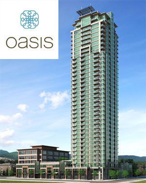 A rendering of the new central Coquitlam Oasis condo tower presenting affordable Coquitlam condominiums for sale.