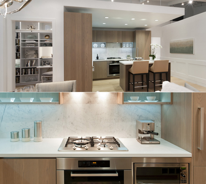 Stainless steel appliances, quartz counters and laminate floors in the kitchens at the preconstruction Richmond OMEGA Condos by Concord Pacific developers