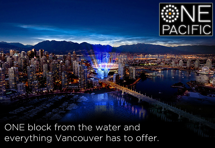 Downtown Vancouver ONE PACIFIC by Concord Pacific includes the most highly anticipated high-rise condo towers in the Yaletown district in 2013.
