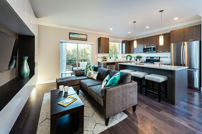 one38 Surrey townhouse interior living rooms are spacious and bright.