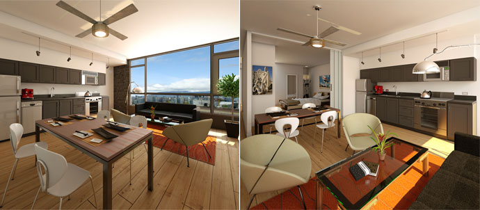 The interiors at South Main OnQue Vancouver condos for sale by Rize at Quebec and Broadway.
