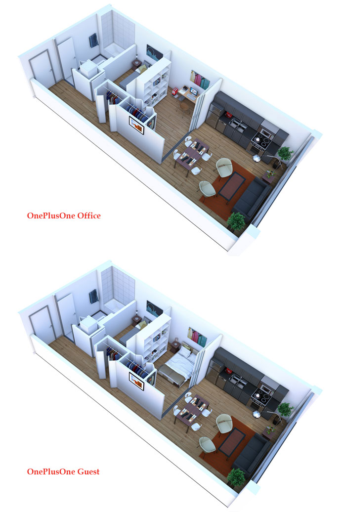 The Vancouver OnePlusOne OnQue floor plan featuring the guest room configuration for the flexible layouts.