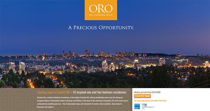 Oro on Capitol Hill Burnaby condo development by Firm Developers.