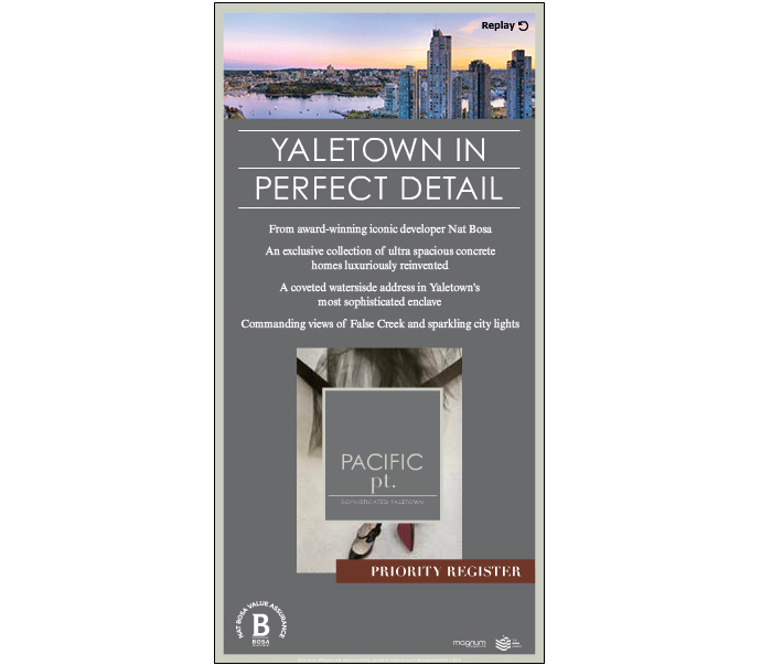 The presale Vancouver Pacific Pt Condos by Bosa Development is located in Yaletown real estate district.