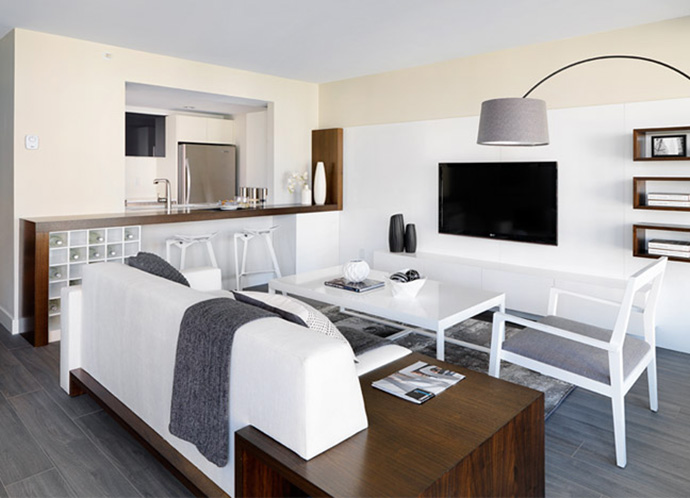 Spacious living areas in the renovated Vancouver Downtown Condos by BOSA.