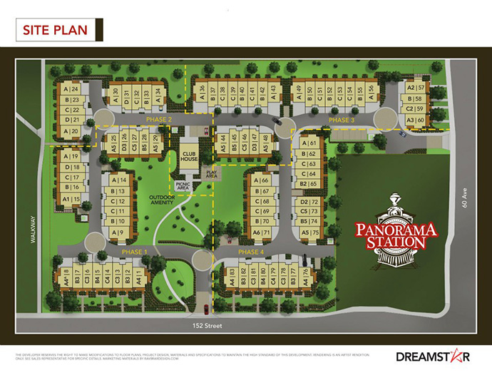 A site plan for the boutique community at the Sullivan Panorama Station Surrey real estate development.