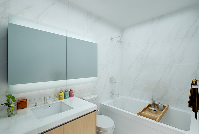 Beautiful bathrooms at Park Avenue condo specifications.