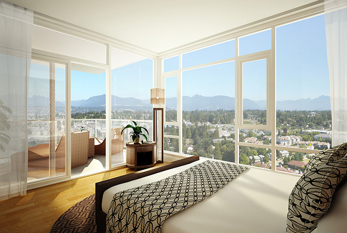 Park Avenue Surrey apartments with a view from the bedroom.