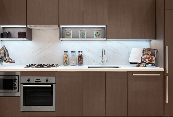 Spectacular kitchens with integrated appliances at PA Surrey condos.