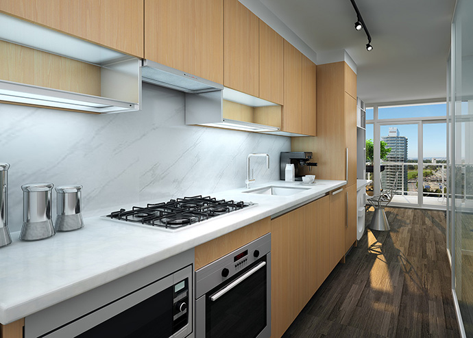 High-end kitchen finishes with large appliances in 2 bedroom Park Avenue condo residences.