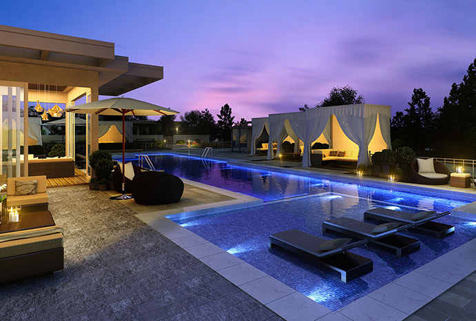 Roof lap pool at the spectacular five star Club PA Park Avenue amenity space exclusive to residents who live here.