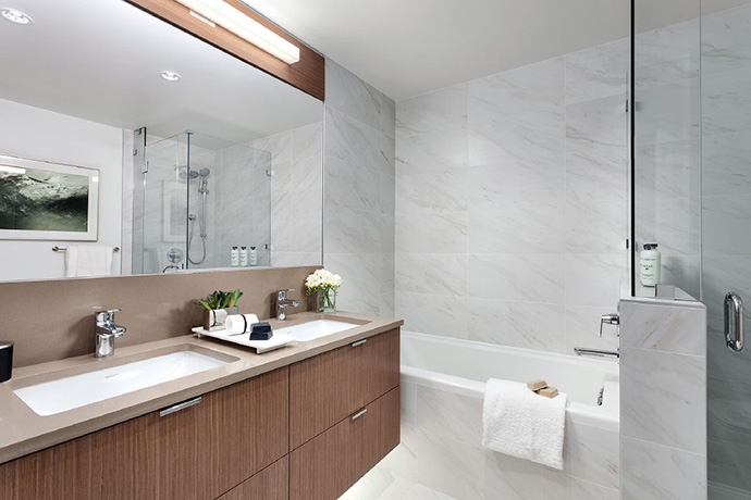 Beautiful bathrooms at Park & Metro Langara homes.