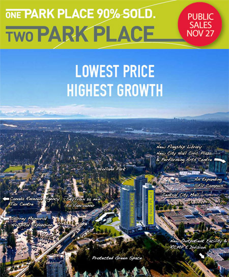 TWO PARK PLACE Surrey condos for sale now launching registrations for VIP Sales.