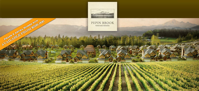 The new Abbotsford homes at Pepin Brook Vineyard Estates real estate development are brought to you by Morningstar Homes and Azura Management Corp.