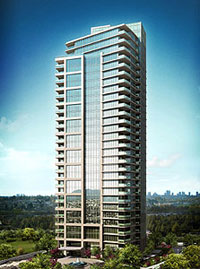 New high-rise rendering of the Perspectives Burnaby real estate condo presales development.  Pre-registration is now open.
