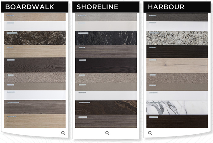 3 Colour Schemes to choose from at the London Landing Pier Condos in Steveston Richmond BC.