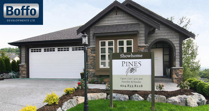 Great curb appeal at the single family Abbotsford Pines at the Highlands Homes by Boffo Development.